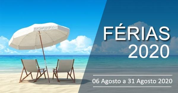 Férias de Verão 2020: De 6 Agosto a 31 Agosto 2020