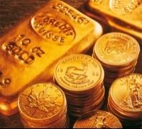 Moedas e barras de ouro