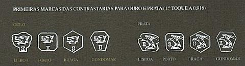 Primeiras marcas de contrastarias para ouro e prata