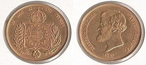 20.000 réis, 17,92 gramas, ouro 0,917.