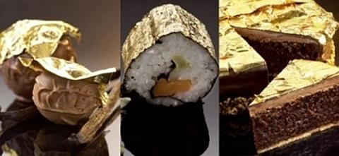 comida com ouro