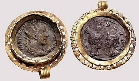 moedas antigas em aro