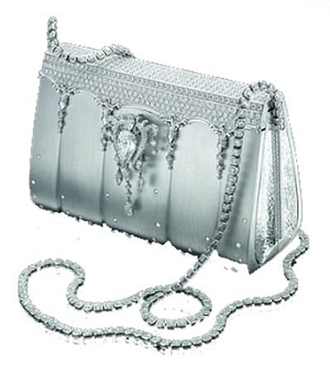 Diamond studded platinium handbag