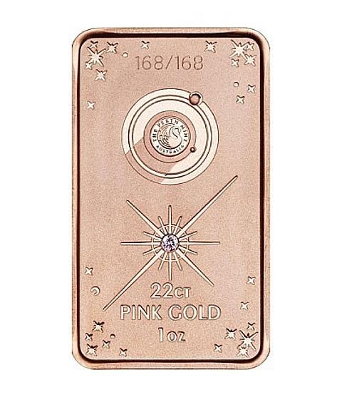 barra de ouro com diamante rosa