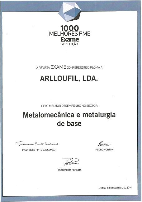 Melhor empresa no sector da Metralomecânica e metalurgia de base