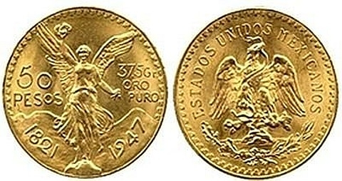 50 pesos mexicanos em ouro