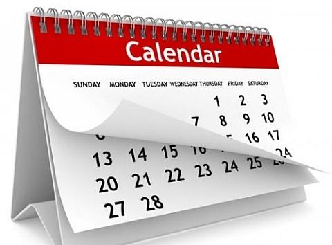 Eventos, Calendário